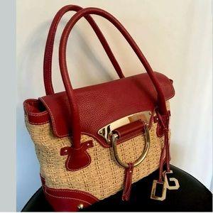 Dolce and Gabbana leather and straw handbag